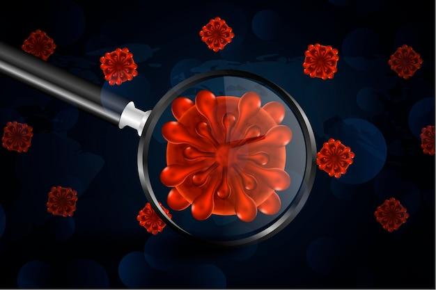Realistyczne Komórki Koronawirusa Wyglądają Przez Tło Szkła Powiększającego Darmowych Wektorów