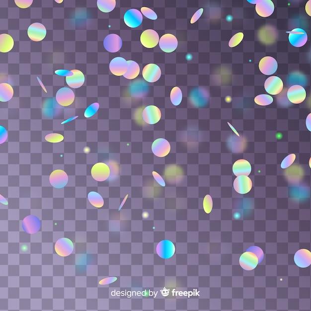 Realistyczne konfetti holograficzne spadające tło Darmowych Wektorów