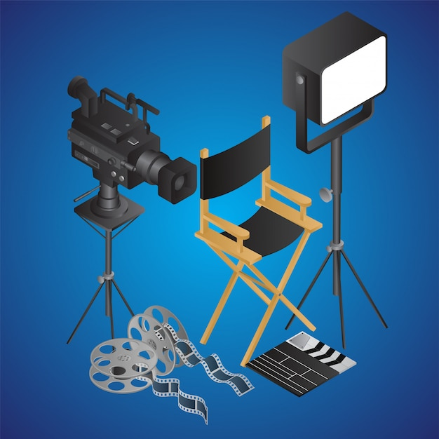 Realistyczne krzesło reżyserskie z kamerą wideo; światło punktowe; rolka filmu i klapy na niebiesko Premium Wektorów