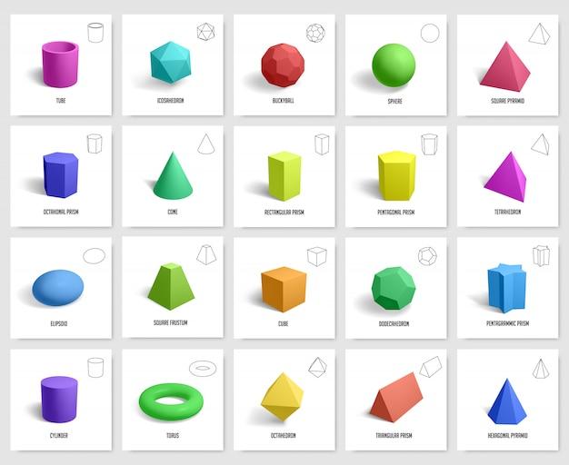 Realistyczne Kształty Geometryczne. Podstawowa Geometria Pryzmat, Sześcian, Figury Cylindryczne, Geometryczny Wielokąt I Sześciokąt Kształtuje Zestaw Ikon Ilustracji. Kształt Geometryczny Sześcianu Premium Wektorów