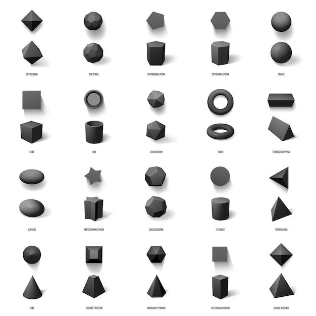 Realistyczne Kształty Geometryczne. Podstawowe Geometryczne Figury Wielokątne, Sześcian, Piramida, Kula I Pryzmat Zestaw Ikon Ilustracji Modelu. Wieloboczna Realistyczna Konstrukcja, Sześcian I Piramida Premium Wektorów