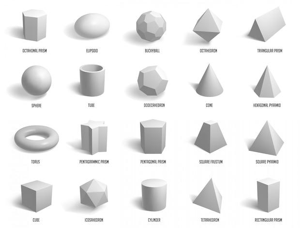 Realistyczne Kształty Podstawowe. Kula Geometrii, Cylindry, Piramidy I Formy Sześcianu, Zestaw Ikon Ilustracji Modelu Kształtów Geometrycznych. Model Kostki, Sfery, Wielokąta, Grupy Sześciokątów Premium Wektorów