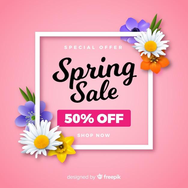 Realistyczne kwiaty wiosną sprzedaż tło Darmowych Wektorów