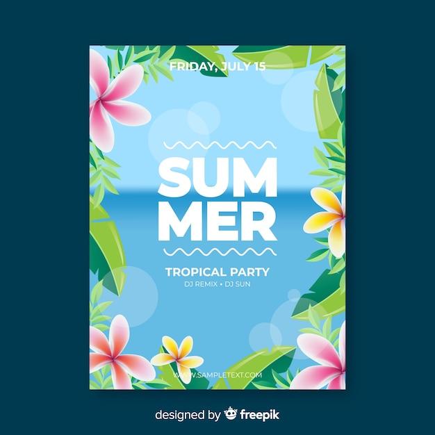 Realistyczne lato party plakat szablon Darmowych Wektorów
