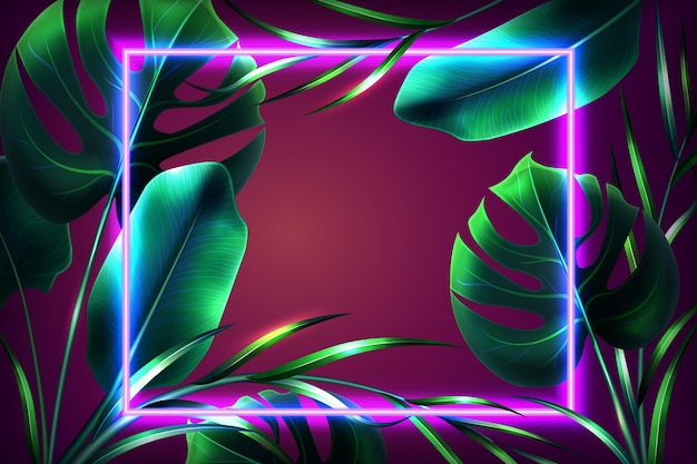 Realistyczne Liście Z Neonową Tapetą Darmowych Wektorów