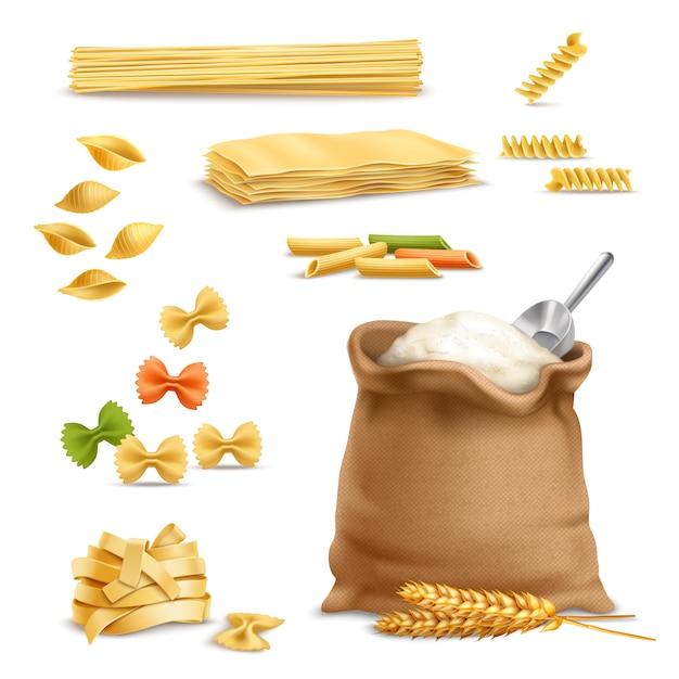 Realistyczne makarony pszenne kłoski mąka Darmowych Wektorów