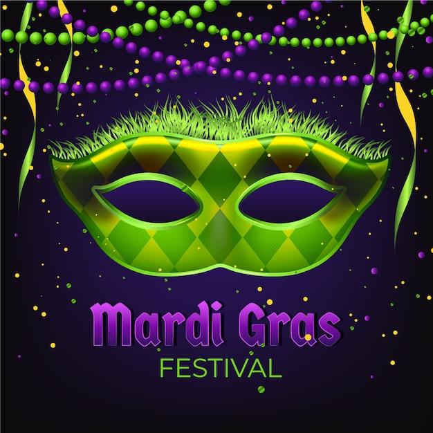 Realistyczne Mardi Gras Z Maską I Koralikami Darmowych Wektorów