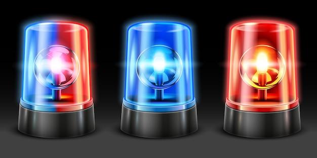 Realistyczne Miganie Karetki Pogotowia. Migacz świateł Policyjnych, światła Bezpieczeństwa I Lampy Sygnalizacyjne Syreny Ostrzegawcze. Zestaw Oświetlenia Awaryjnego 3d Premium Wektorów