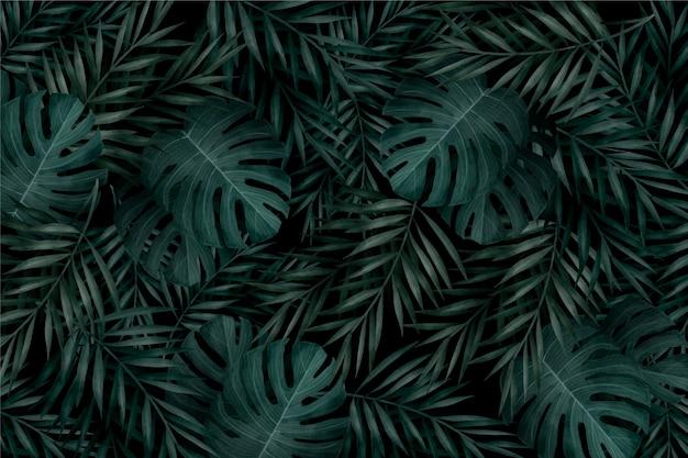 Realistyczne Monochromatyczne Liście Tropikalny Tło Darmowych Wektorów