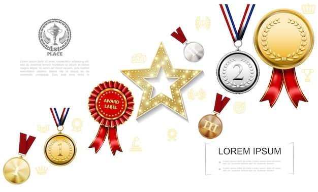 Realistyczne Nagrody Kolorowy Szablon Darmowych Wektorów