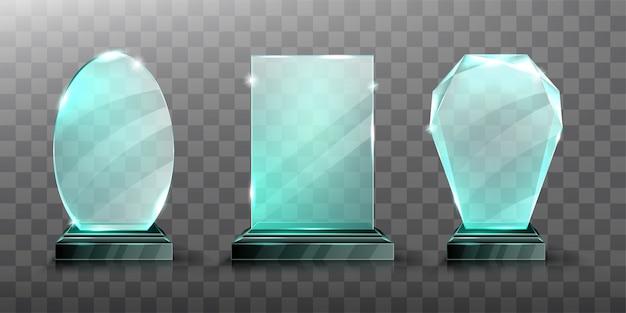 Realistyczne Nagrodzenie Szklanego Trofeum Lub Akrylowego Zwycięzcy Darmowych Wektorów