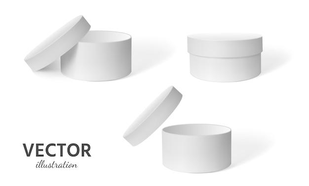 Realistyczne okrągłe pudełko Premium Wektorów