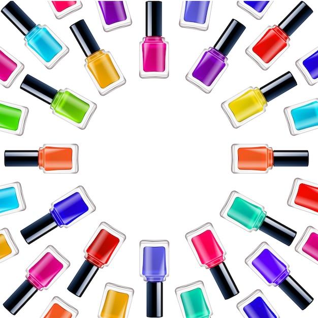 Realistyczne okrągłe ramki z kolorowe lakiery do paznokci w zamkniętych pojemnikach na białym tle Darmowych Wektorów