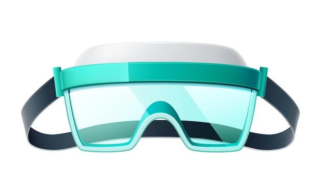 Realistyczne Okulary Ochronne. Ochrona Oczu Przy Niebezpiecznych Pracach Przemysłowych I Medycznych. Premium Wektorów