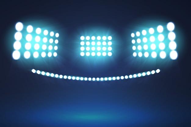 Realistyczne Oświetlenie Jasnych Stadionów Darmowych Wektorów
