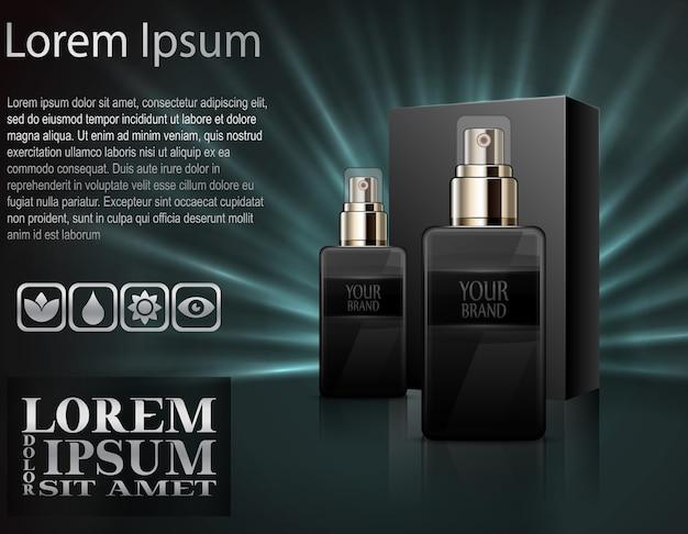Realistyczne Perfumy W Butelkach Z Pudełkiem Premium Wektorów