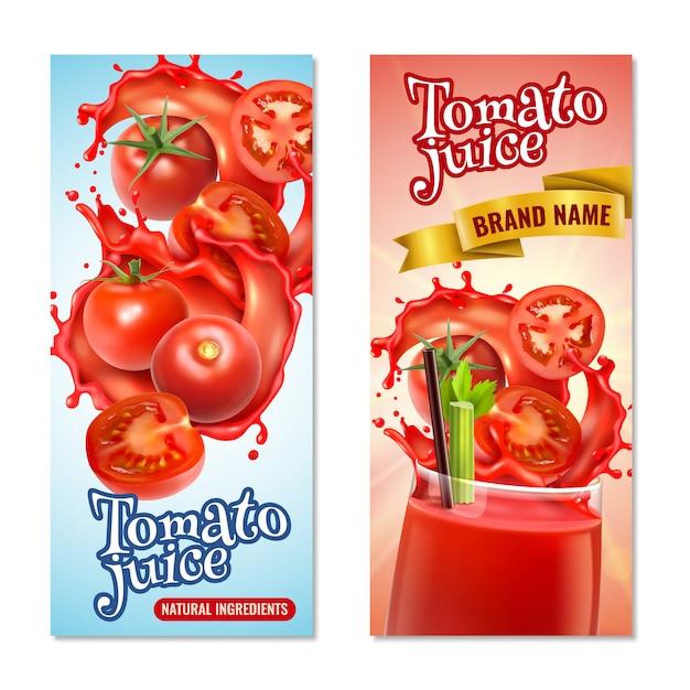 Realistyczne Pionowe Banery Soku Pomidorowego Z Plamami Czerwonej Cieczy I Całych Owoców Z Tekstem Darmowych Wektorów