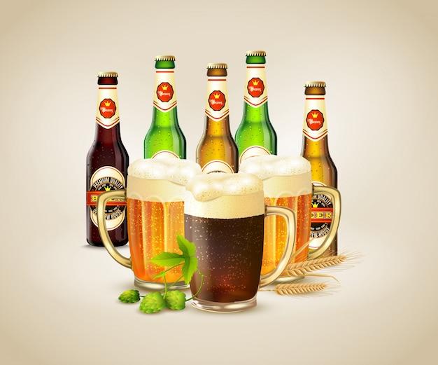Realistyczne piwo Darmowych Wektorów