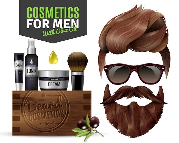 Realistyczne plakat męskich kosmetyków Darmowych Wektorów