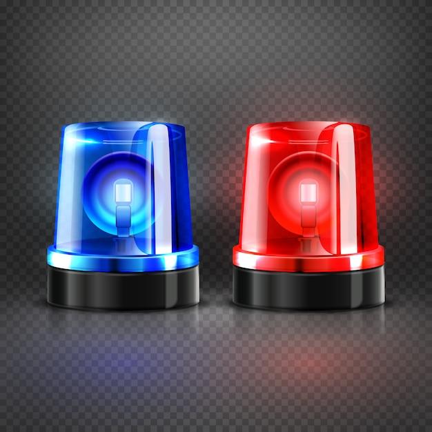 Realistyczne policyjne pogotowie ratunkowe migające czerwone i niebieskie syreny Premium Wektorów