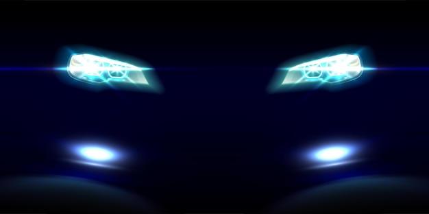 Realistyczne Przednie światła Samochodu Na Czarno Darmowych Wektorów