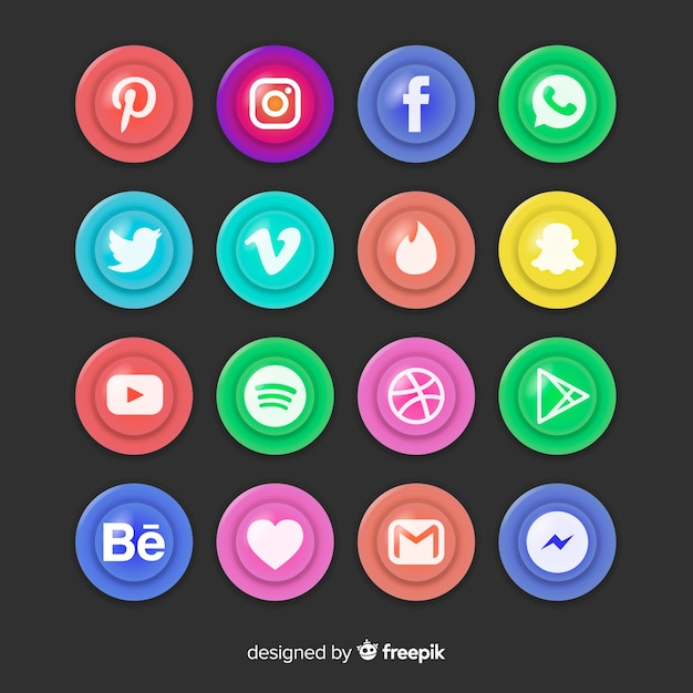 Realistyczne przyciski z kolekcją logo mediów społecznościowych Darmowych Wektorów