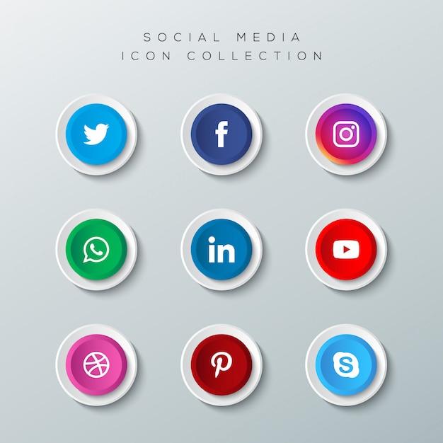 Realistyczne Przyciski Z Kolekcji Logo Mediów Społecznościowych Premium Wektorów