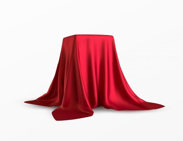 Realistyczne Pudełko Pokryte Czerwonym Jedwabiem Premium Wektorów