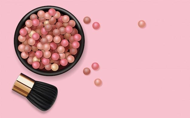 Realistyczne Pudrowe Perły I Pędzel Do Makijażu, Produkt Do Makijażu Twarzy, Kosmetyki Kolorowe Kulki Premium Wektorów