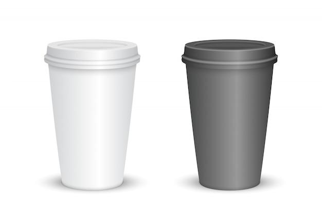 Realistyczne puste filiżanki kawy na białym tle. ilustracji wektorowych Premium Wektorów