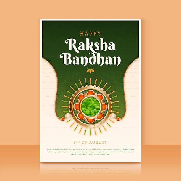 Realistyczne Raksha Bandhan Kartkę Z życzeniami Darmowych Wektorów