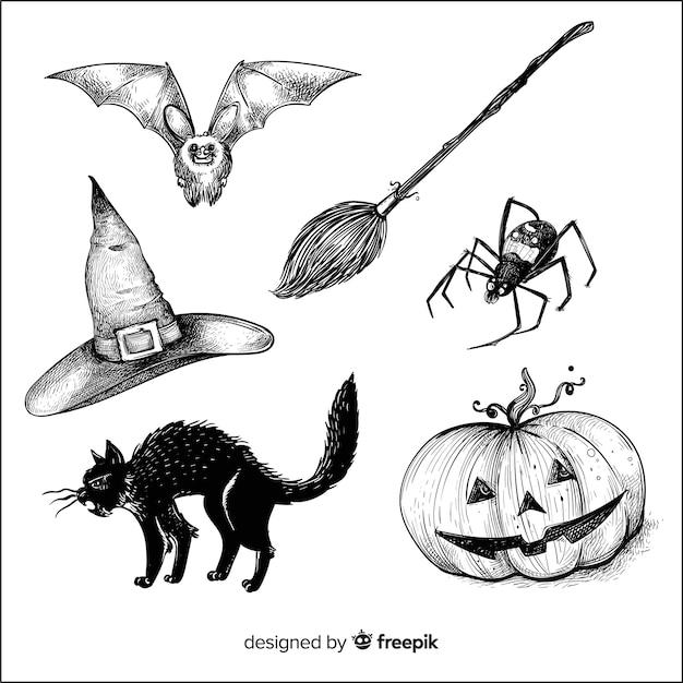 Realistyczne ręcznie rysowane element kolekcji halloween Darmowych Wektorów