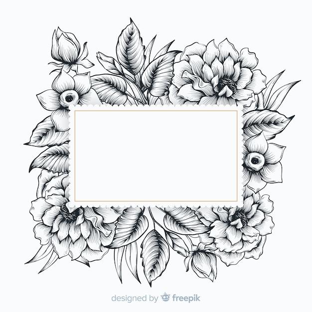 Realistyczne ręcznie rysowane kwiaty z pustym hasłem Darmowych Wektorów