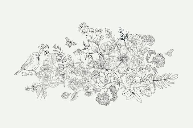 Realistyczne ręcznie rysowane rocznika bukiet kwiatów Darmowych Wektorów