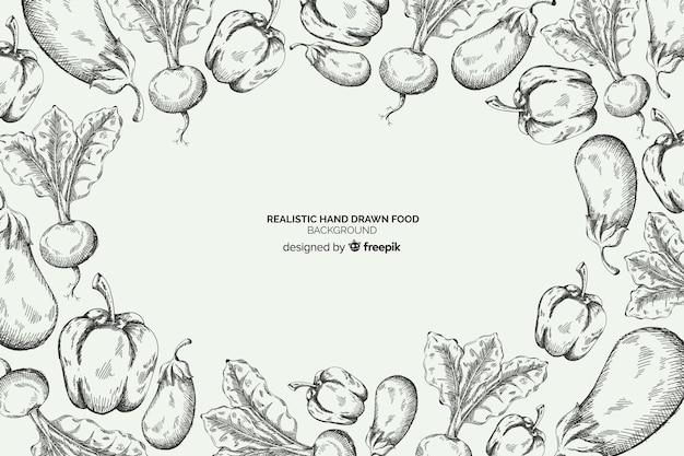 Realistyczne ręcznie rysowane tło żywności Darmowych Wektorów