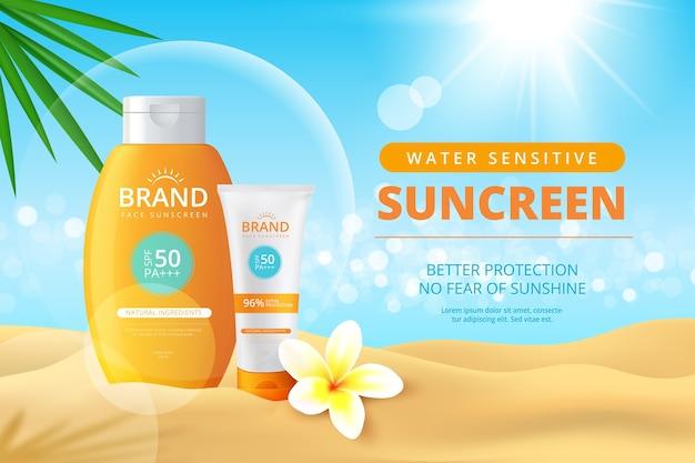 Realistyczne Reklamy Filtrów Przeciwsłonecznych Darmowych Wektorów