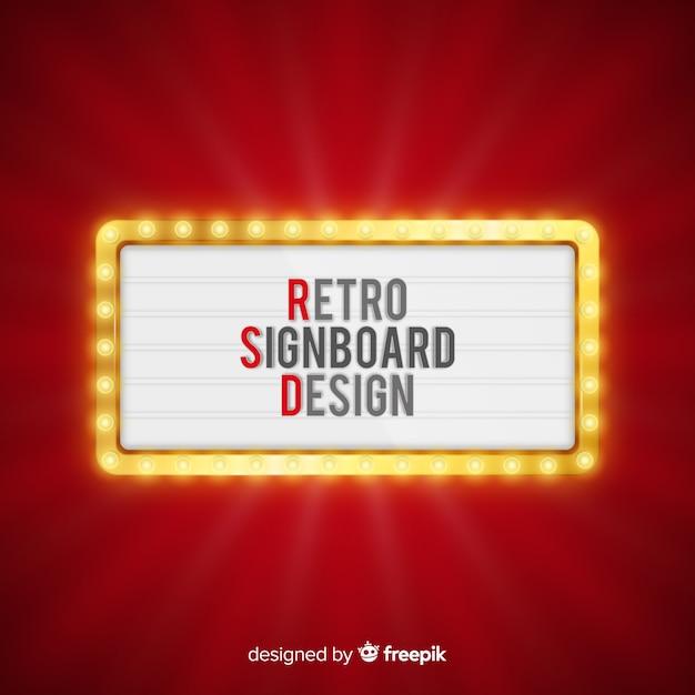 Realistyczne retro światła billboard tło Darmowych Wektorów