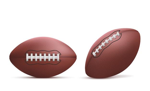 Realistyczne Rugby Piłki Na Białym Tle Zestaw Darmowych Wektorów