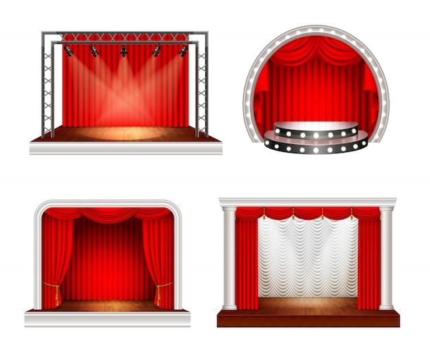 Realistyczne sceny ustawione z czterema obrazami sceny pustej przestrzeni z czerwonymi zasłonami i ilustracji wektorowych sprzętu oświetleniowego Darmowych Wektorów