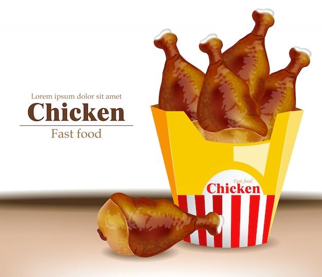 Realistyczne skrzydełka z kurczaka Premium Wektorów