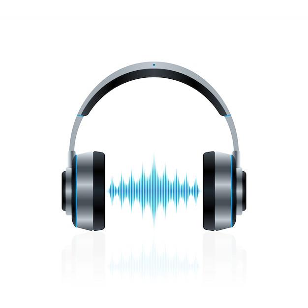 Realistyczne słuchawki z falami dźwiękowymi Premium Wektorów