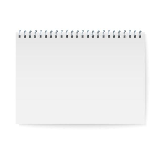 Realistyczne Spirala Notebooka Makieta, Szablon Zeszyt Okładka. Premium Wektorów