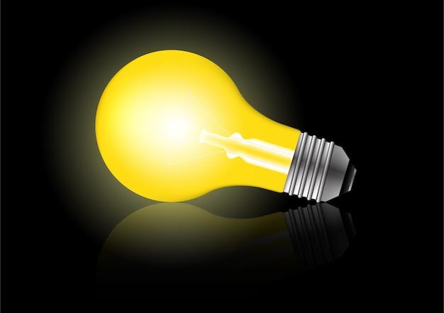 Realistyczne świecące światła Z Cieniami. Koncepcja Kreatywna Pomysł żarówki. Premium Wektorów