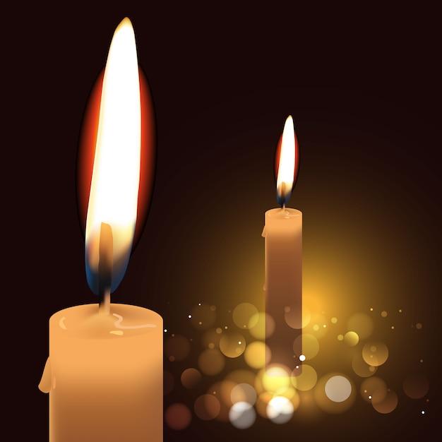 Realistyczne świece Na Ciemnym Tle. Ilustracja Premium Wektorów