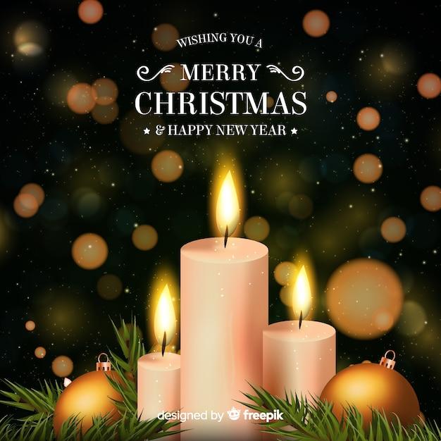 Realistyczne świece świąteczne Tło Darmowych Wektorów