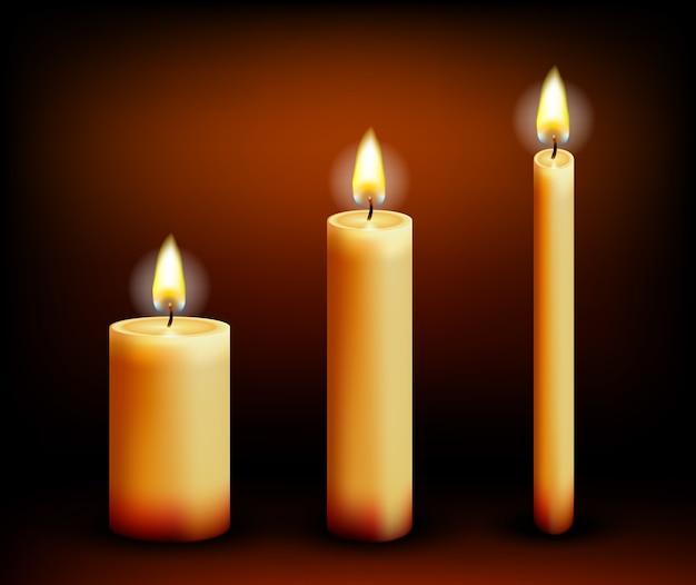 Realistyczne świece W Różnych Kształtach. Wosk I Płomień, Ogień I Parafina. Ilustracji Wektorowych Premium Wektorów