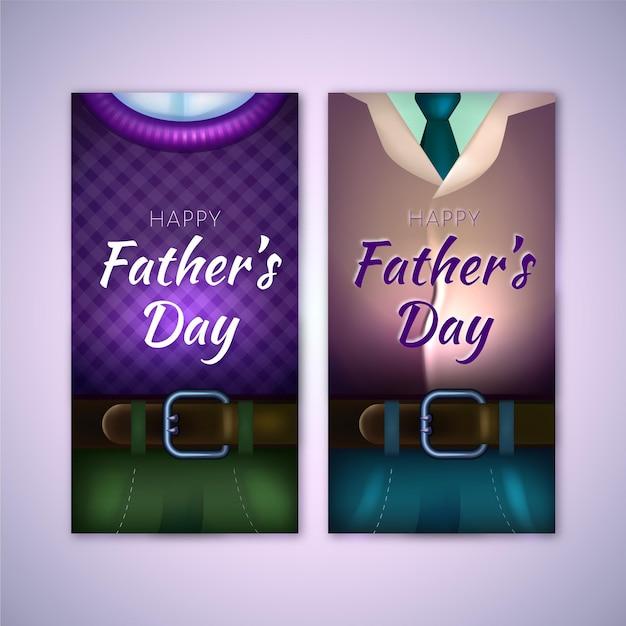 Realistyczne Szablon Dzień Banerów Ojców Darmowych Wektorów