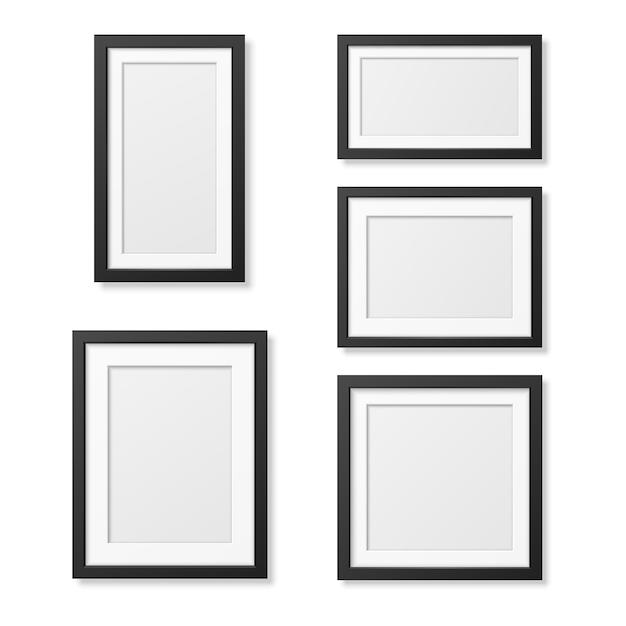 Realistyczne szablony puste ramki na zdjęcia ustawione na białym tle. Premium Wektorów