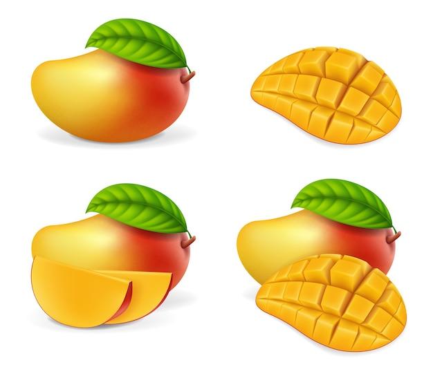 Realistyczne Szczegółowe Całe I Kawałki Mango Premium Wektorów