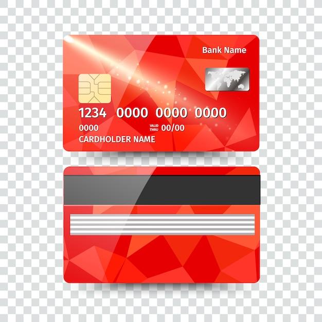 Realistyczne Szczegółowe Karty Kredytowej Z Streszczenie Geometryczny Wzór Na Białym Tle. Ilustracja Premium Wektorów